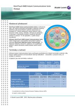 OmniTouch 8400 Instant Communications Suite Přehled Všeobecné