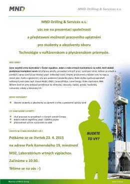 MND Drilling & Services a.s. vás zve na prezentaci společnosti a