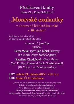 Představení knihy MORAVANKY