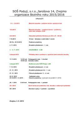 Harmonogram 1. pololetí 2015/2016