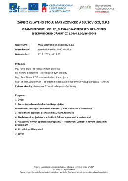 Zápis z 2. kulatého stolu - MAS Vizovicko a Slušovicko