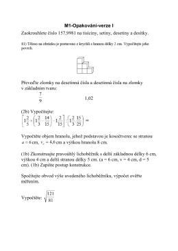 M1-Opakování-verze I Zaokrouhlete číslo 157,9981 na tisíciny
