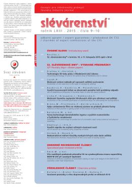 ročník LXIII . 2015 . číslo 9–10 - Časopis SLÉVÁRENSTVÍ