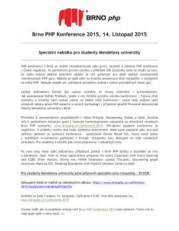 Brno PHP Konference 2015, 14. Listopad 2015