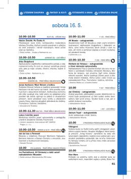 sobota 16. 5. - Svět knihy Praha 2015