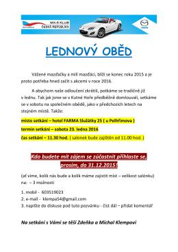 LEDNOVÝ OBĚD - MX-5 klub Česká Republika