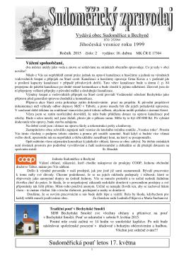Sudoměřická pouť letos 17. května