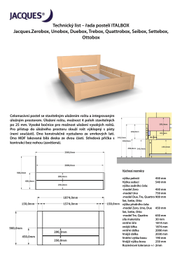 Technický list – řada postelí ITALBOX Jacques.Zerobox, Unobox