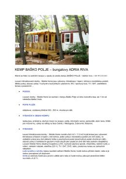 KEMP BAŠKO POLJE – bungalovy ADRIA RIVA