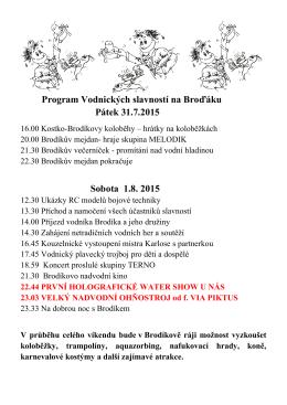 Program Vodnických slavností na Broďáku Pátek