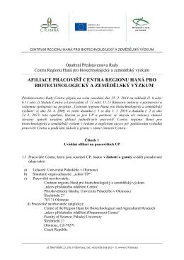 Afiliace pracovišť Centra regionu Haná pro biotechnologický a