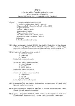 Zápis z členské schůze.