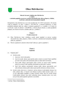 Obecně závazná vyhláška obce Helvíkovice č. 3/2015