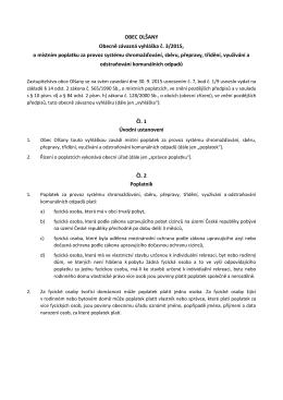 Obecně závazná vyhláška č. 3/2015, o místním