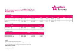 Ceník sponzoringu stanice BARRANDOV PLUS Prosinec 2015