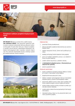 Komplexní realizace projektů bioplynových stanic www.bpsprojekt