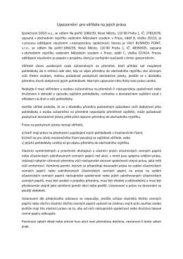 Upozornění pro věřitele na jejich práva odštěpení D2GO