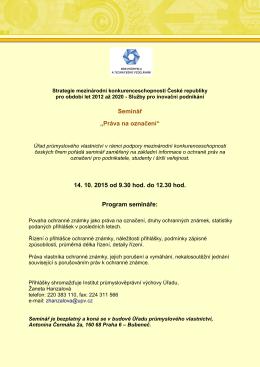 "Seminář ""Práva na označení"" 14. 10. 2015 od 9.30 hod. do 12.30"