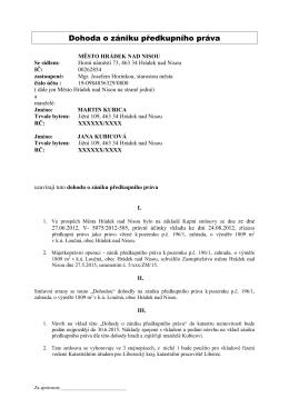 Dohoda o zrušení předkup práva