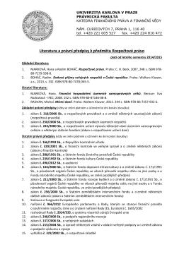 Rozpočtové právo - Univerzita Karlova