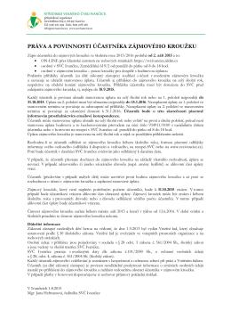 Práva a povinnosti účastníka ZÚ