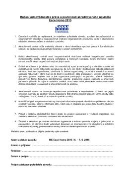 Ručení odpovědnosti a práva a povinnosti akreditovaného novináře