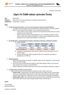 Zápis z VV ČABR dne 23.7.2015