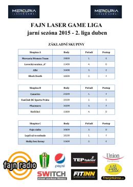 FAJN LASER GAME LIGA jarní sezóna 2015