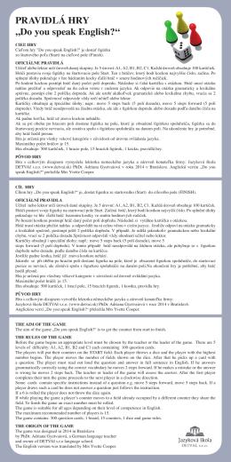 Pravidla hry-slovensky-česky-anglicky