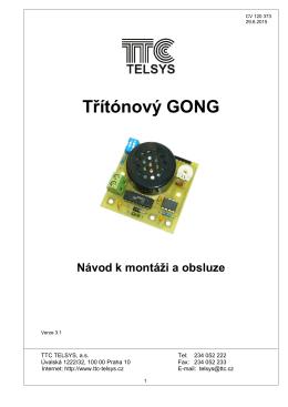 Třítónový GONG - návod verze 3.1