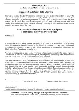 Nástupní poukaz na letní tábor Wakantopa – w kruhu, z. s. Souhlas