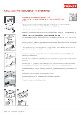 Montáž nerezových dřezů určených pro systém Top Clip.indd