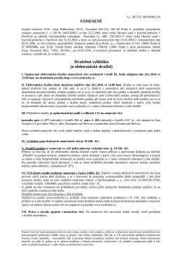 USNESENÍ Dražební vyhlášku (o elektronické dražbě)