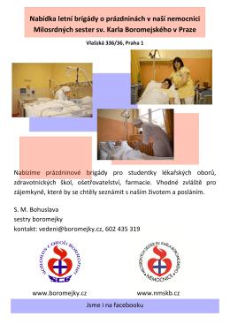 Nabídka letní brigády o prázdninách v naší nemocnici Milosrdných