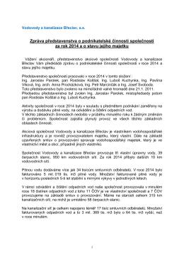 Zpráva představenstva o podnikatelské činnosti za rok 2014