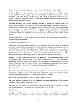 1 Zpráva představenstva o podnikatelské činnosti a stavu majetku