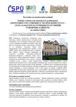 Pozvánka a program semináře - Česká společnost pro údržbu