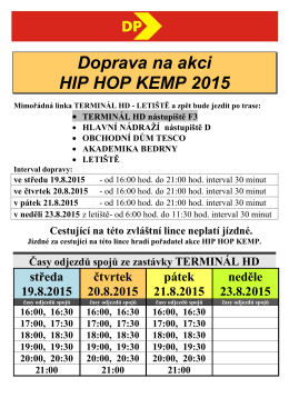 Doprava na akci HIP HOP KEMP 2015