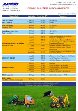 Ceník dopravy a služeb (PDF dokument)
