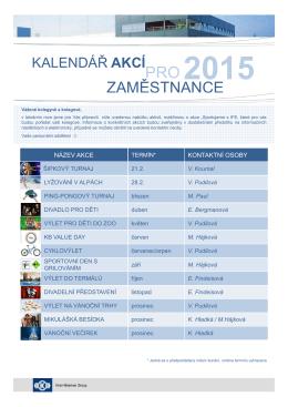 Kalendář akcí pro zaměstnance 2015