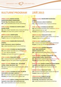 Kulturní program na měsíc září