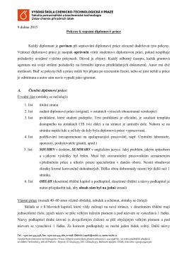 Pokyny k sepsání diplomové práce