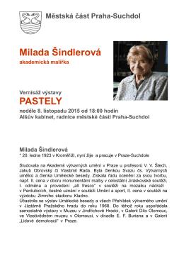Program výstavy Milada Šindlerová, ne 8.11.2015