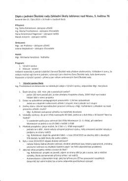Zápis z jednání Štolsté rady Základní školy Jablonec nad Nisou, 5