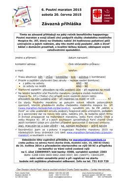 Přihláška + podrobné základní informace k Poutnímu maratonu 2015