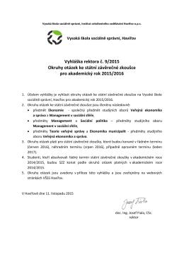 Vyhláška rektora č. 9/2015 Okruhy otázek ke státní závěrečné