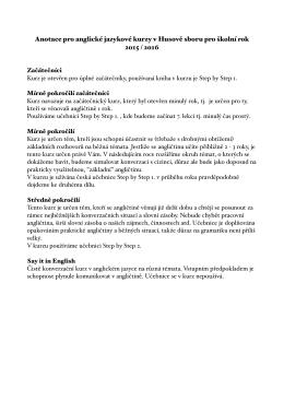 anotace kurzů PDF