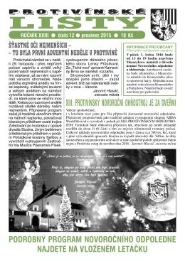 Minulé číslo Protivínských listů 12/2015 (PDF, cca 4