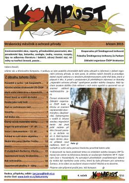 Strakonický měsíčník o ochraně přírody březen 2015 Z obsahu