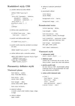 Kaskádové styly CSS Parametry definice stylů